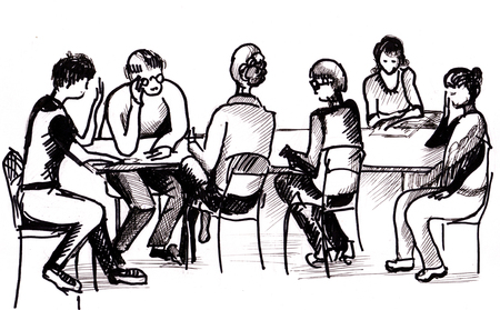 a literary sketch: drawing, session of literary society Stock Photo