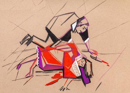 murder: The ending of an opera of Carmen. A murder scene