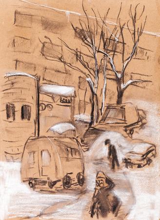 snowdrifts: Cloudy winter day, deep snowdrifts on street