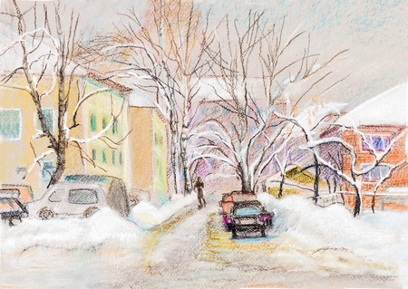 snow landscape: winter skyline, view from car Stock Photo