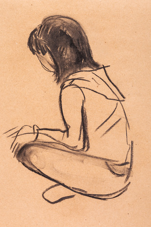 adolescent: instant sketch, girl sitting on the floor