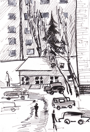 window view: instant sketch, view from window to city. Winter day. Stock Photo