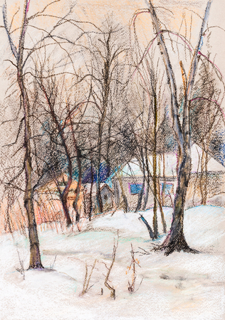 the settlement: Winter landscape of small settlement