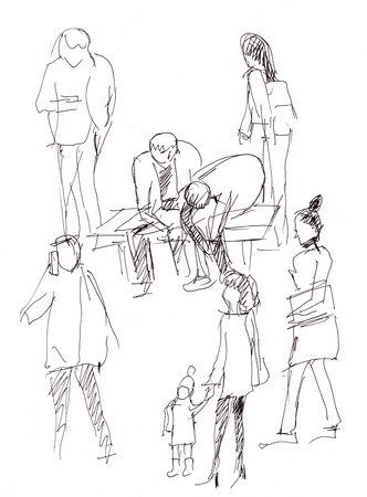electric train: Instant sketch, people waiting the electric train