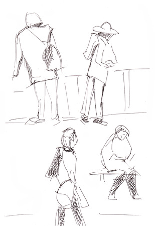 instant: Instant sketch, people waiting the electric train