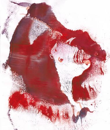 sacrificio: Toro en sacrificio en corrida, sangre, monotypy