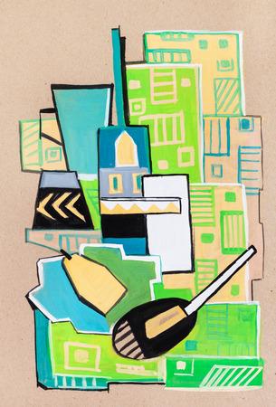 cubismo: Aún-vida en el paño verde de una manera cubismo