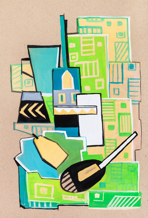 manner: Still-life  on green cloth in a cubism manner