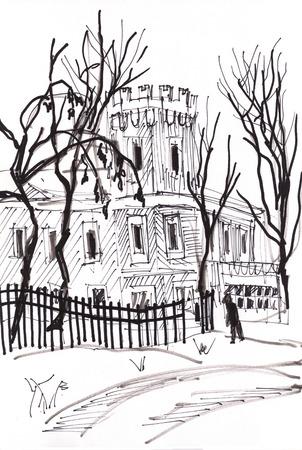 building sketch: Instant sketch,  ancient building in winter