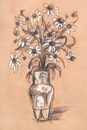 whitewash: Bouquet of camomiles in porcelain vase