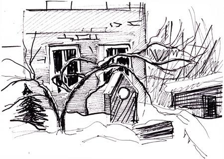 Instant sketch, village in winter Stock Photo