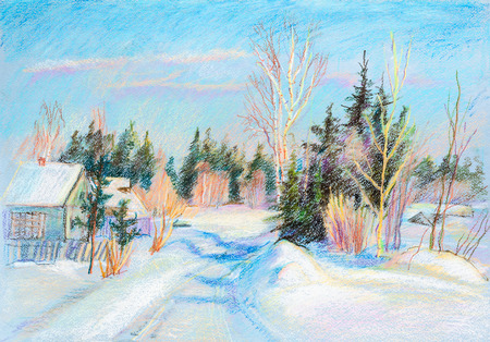Winter landscape with spruces in village