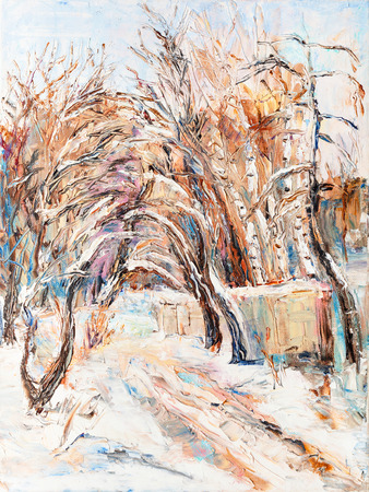 rural road: winter landscape, view to the road in park