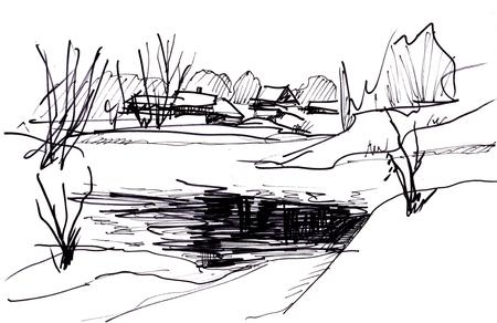 rural road: winter day on lake