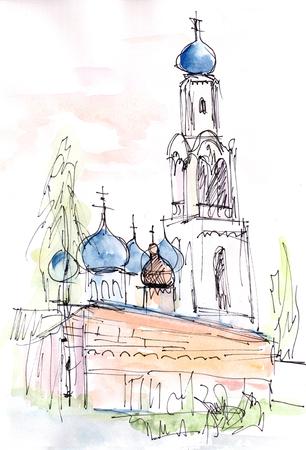 The temple in town Rogochevo Banco de Imagens