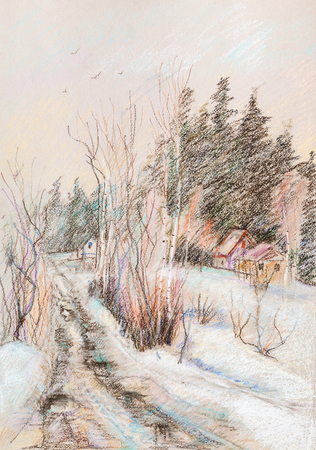 Winter landscape,  rural road in forest Stock Photo