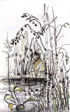 Instant sketch,  rural watercolor landscape Banco de Imagens