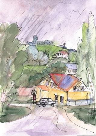 Instant sketch,  watercolor landscape with hills Banco de Imagens