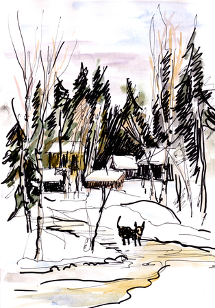 Winter day, watercolor landscape with settlement in wood