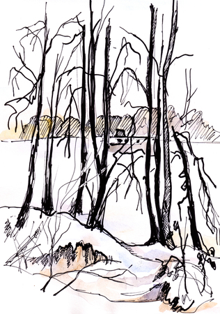 Winter day, watercolor landscape with frozen river