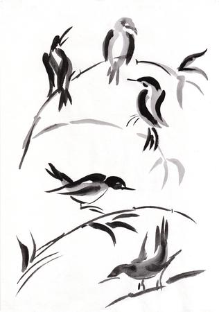 birds in branches of bamboo, sumi-e