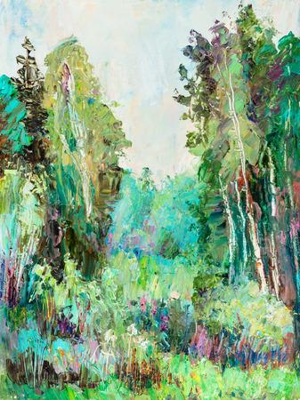 Glade in birch wood 版權商用圖片