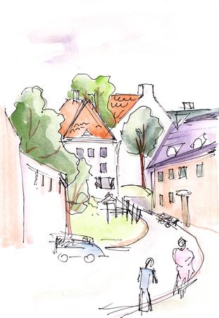 Narrow streets in the center of Vilnius