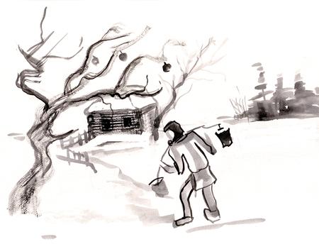 집과 사과 나무가있는 Winterlandscape