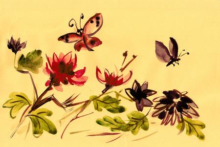 Bloeiende chrysanten met vliegende insecten, sumi-e, Japanse stijl Stockfoto