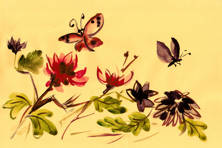 Flowering chrysanthemums with flying insects, sumi-e, , japanese style