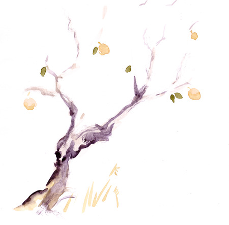 The lonely apple-tree in late autumn, sumi-e