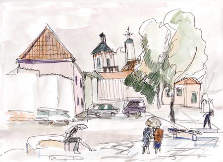 Narrow streets in center of Vilnius Banco de Imagens
