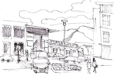 Onmiddellijke schets, straten in Reykjavic