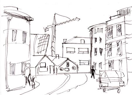 Onmiddellijke schets, straten in Reykjavik