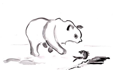 Breed leven, witte beer met vis in de winter, sumi-e