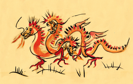 dangerous red russian dragon with three heads, sumi-e