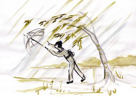 Woman with umbrella in rainy day, sumi-e
