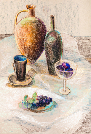 Still life with ceramic jug and bottle