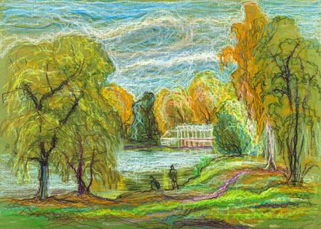 Paysage d & # 39 ; automne avec lac et maisons Banque d'images - 90460390