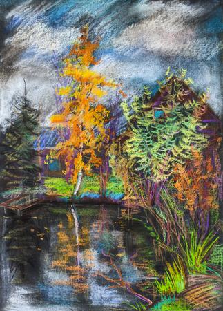 Paysage d'automne avec lac et maisons Banque d'images - 90361552