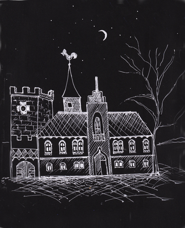 Night landscape with month, stars  and castle