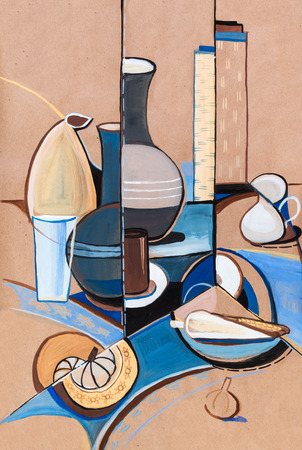 still life in vanguard stile with vase and garlic Imagens
