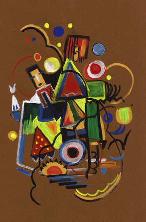 abstract picture painting by gouache on brown paper