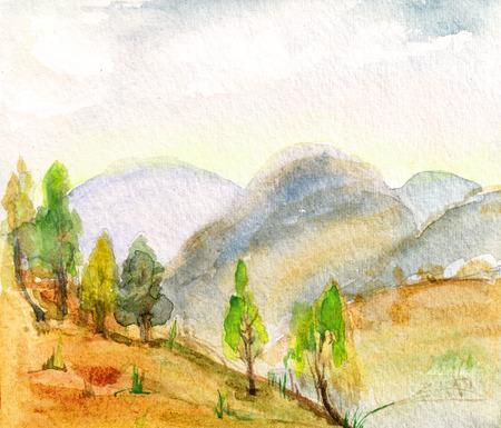 Batumy, 화창한 날 근처 산의 파노라마
