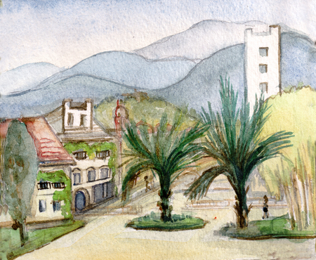 Street of Southern town with two palm trees