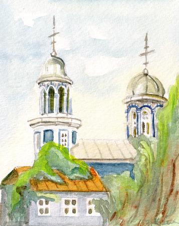 Ortodoxy temple in Batumy, sunny day, Georgia,