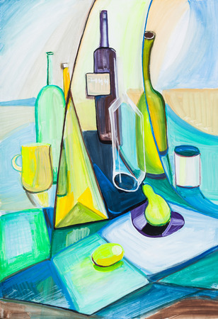 Still life with bottles  and fruits on cloth