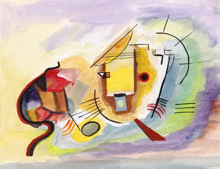 gato rojo sobre los motivos de Kandinsky