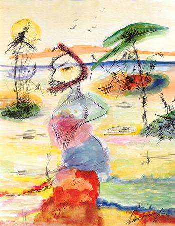 woman walking along the beach 写真素材
