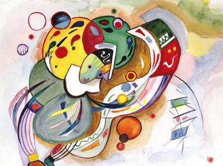 The sad clown juggling with balls and maces Banco de Imagens